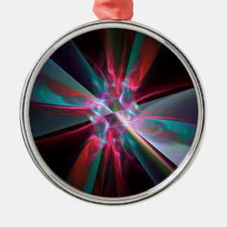 Prisma del electrón, fractal hermoso adorno navideño redondo de metal