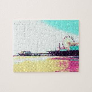 Prismatic Dots Santa Monica Pier Jigsaw Puzzle