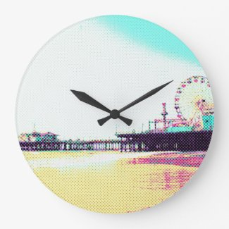 Prismatic Dots Santa Monica Pier Large Clock