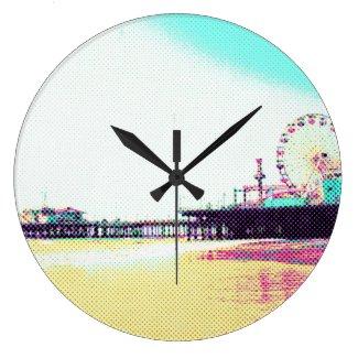 Prismatic Dots Santa Monica Pier Large Clock