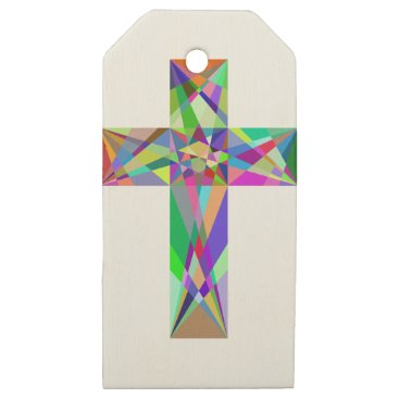 gridly Prismatic Geometric Cross Wooden Gift Tags