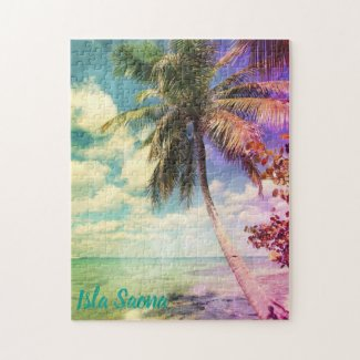 Prismatic Palm Tree on Isla Saona Jigsaw Puzzle