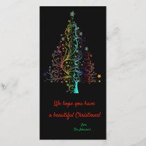 Prismatic Rainbow Christmas tree Holiday Card