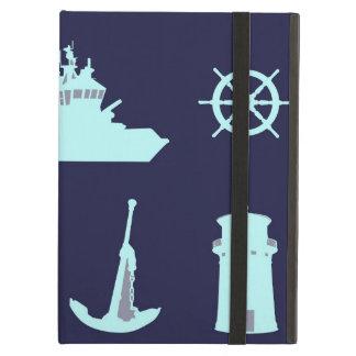 Prismáticos, ancla, el timón de la nave y faro