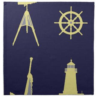 Prismáticos ancla el timón de la nave y faro servilletas de papel