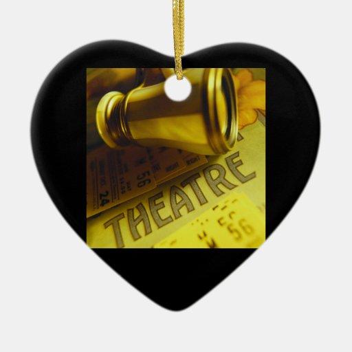 Prismáticos del teatro adorno de cerámica en forma de corazón