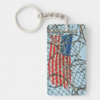 Prison Fence and Flag Keychain
