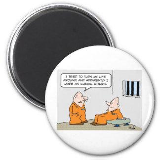 prison illegal u turn 2 inch round magnet