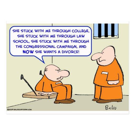 prison politician divorce postcard