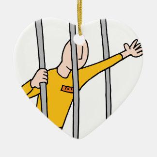 Prisoner Behind Bars Ceramic Ornament