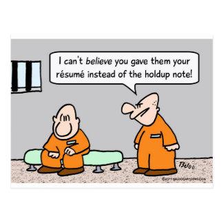 prisoner resume instead of holdup note postcard