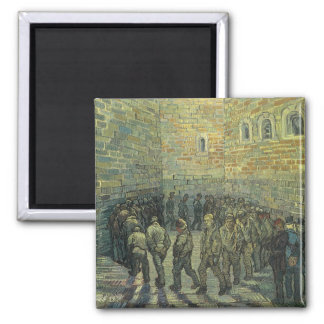 Prisoners Exercising by Vincent van Gogh 2 Inch Square Magnet