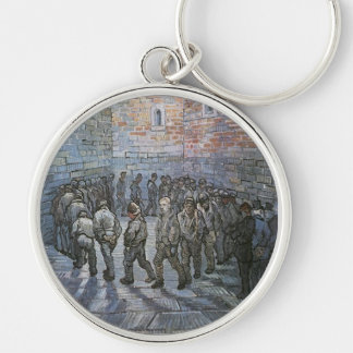 Prisoners Exercising by Vincent van Gogh Silver-Colored Round Keychain