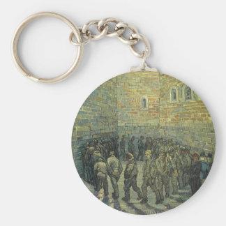 Prisoners Exercising, van Gogh, Vintage Fine Art Basic Round Button Keychain