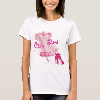 PRISSY SISSY - Pink Feathered Corset T-Shirt