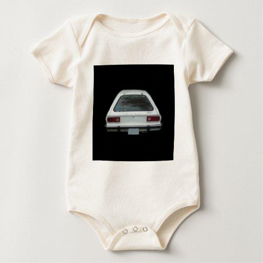 Pristine white pinto rear end view of brake lights baby bodysuit