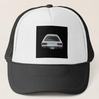 Pristine white pinto rear end view of brake lights trucker hat