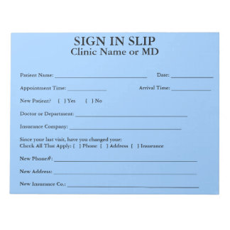 Privacy Patient Sign In Slips Notepad (Sky Blue)