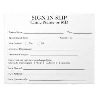 Privacy Patient Sign In Slips Notepad (White)
