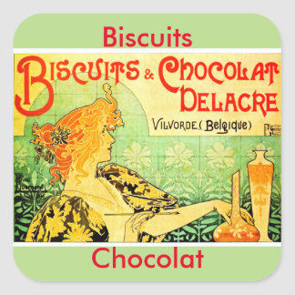 Privat livemont biscuits and chocolat delacre square sticker
