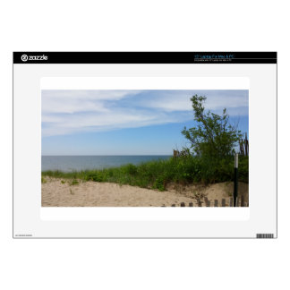 Private Beach on Lake Michigan Laptop Decals