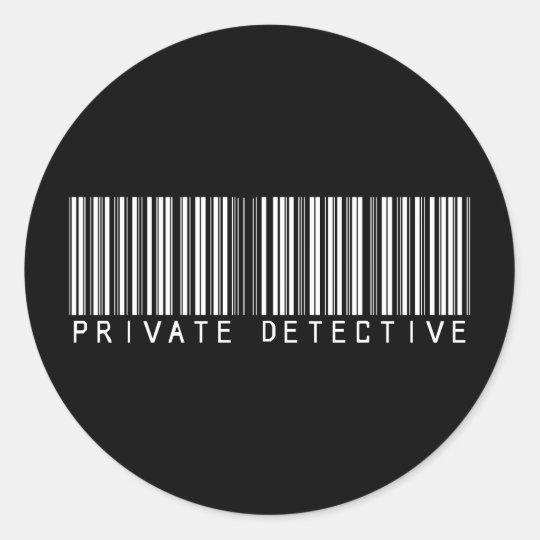 Private Detective Bar Code Classic Round Sticker
