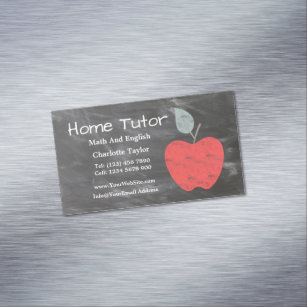Private business cards templates zazzle private home tutor apple scrubbed style chalkboard business card magnet colourmoves