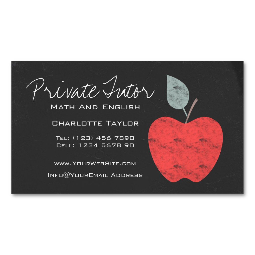 Private Home Tutor Teacher Apple Chalkboard Magnetic Business Card