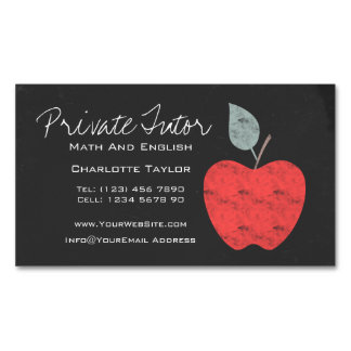 Private Home Tutor Teacher Apple Chalkboard Magnetic Business Cards (Pack Of 25)