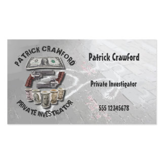 Private Investigator Detective With Guns And Money Business Card