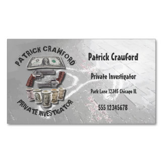 Private Investigator Detective With Guns And Money Business Card Magnet