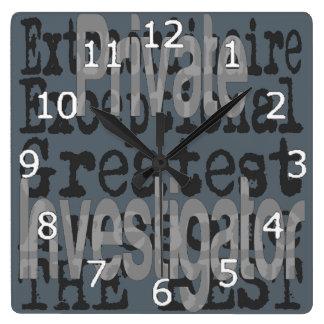 Private Investigator Extraordinaire Square Wall Clock