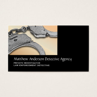 Private Investigator law enforcement tan silver Business Card
