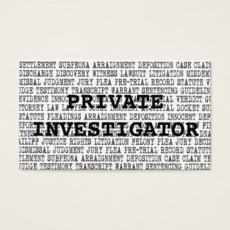 Private Investigator Legal Words Business Card