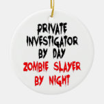 Private Investigator Zombie Slayer Double-Sided Ceramic Round Christmas Ornament