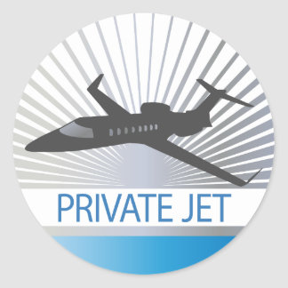 Private Jet Aircraft Classic Round Sticker