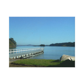 Private jetty on Waiheke Island Auckland Harbour Gallery Wrap Canvas