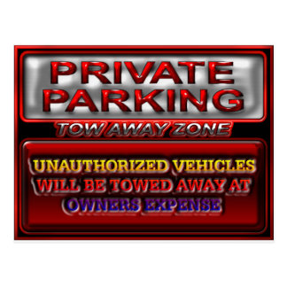 Private Parking Tow Away Zone Sign Postcard