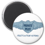 Private Pilot Blue Wings 2 Inch Round Magnet
