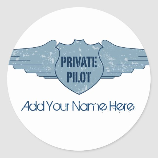 Private Pilot Blue Wings Classic Round Sticker