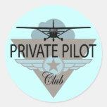 Private Pilot Club Round Stickers
