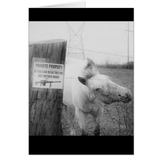 Private Property horse black & white Card