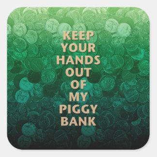 Private Property Piggy Bank Square Sticker