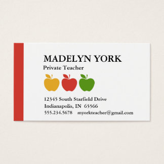 Private Teacher Tutor Business Card