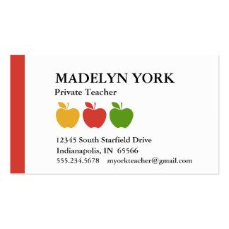 Private Teacher Tutor Business Cards