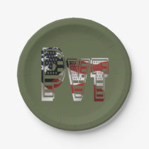 Private USA Military Army Green American Pvt Paper Plate