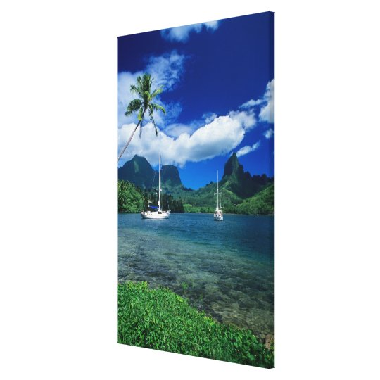 Private yachts anchored in Opunohu Bay on the Canvas Print