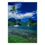 Private yachts anchored in Opunohu Bay on the Greeting Cards
