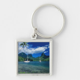 Private yachts anchored in Opunohu Bay on the Silver-Colored Square Keychain