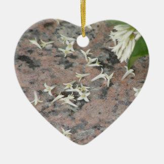 Privet Blossoms on Granite Ceramic Ornament